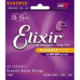 Elixir 11002 Acoustic NANOWEB 80/20 Bronze Extra Light